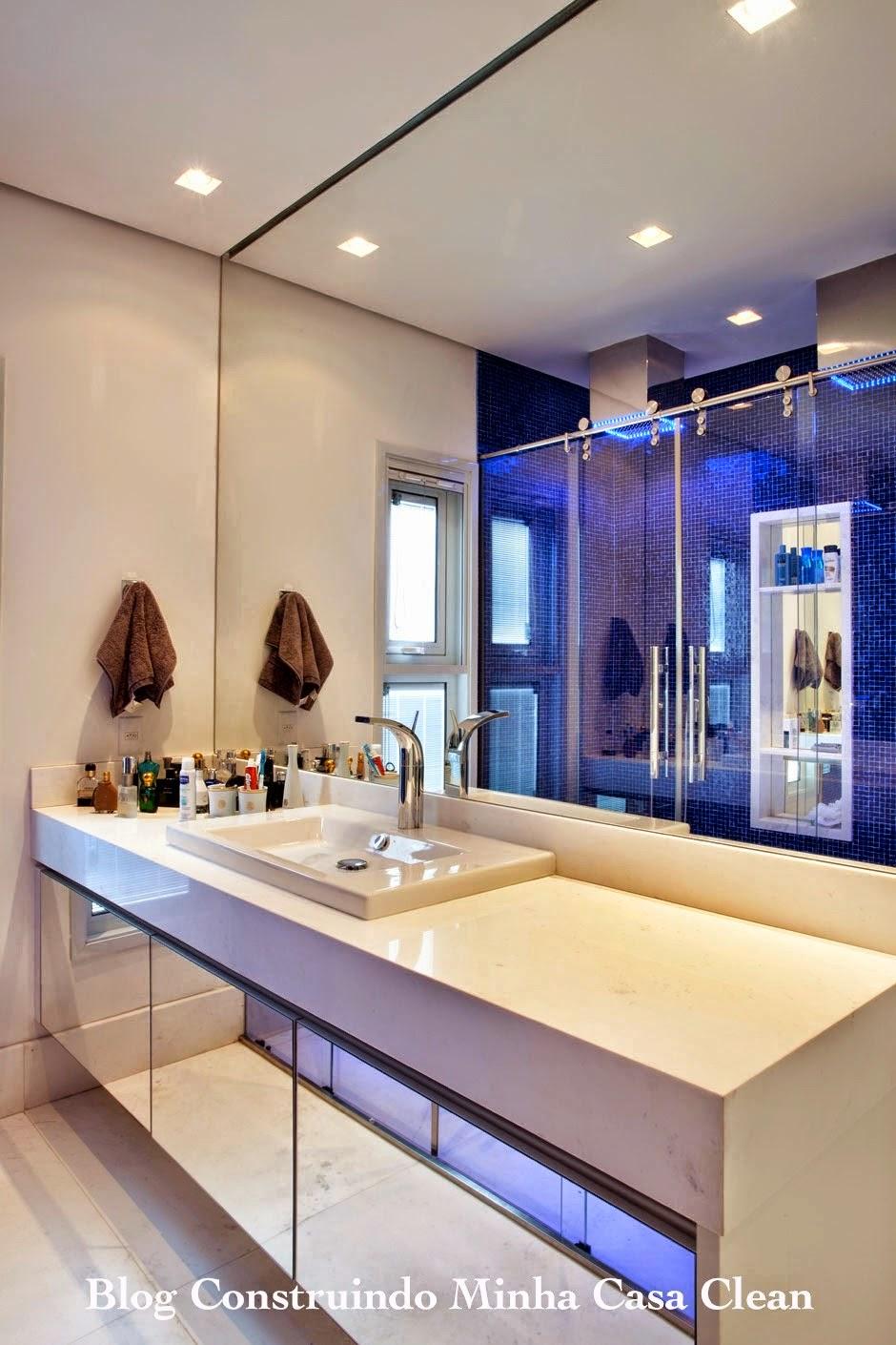 Construindo Minha Casa Clean Top 10 Banheiros Modernos Pequenos e Grandes p -> Banheiros Modernos Grandes