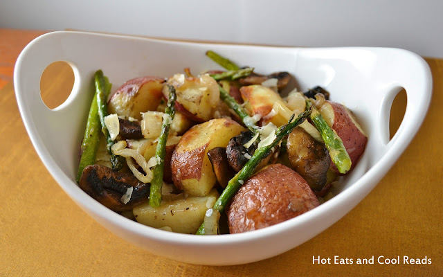 Comfort food that's so hearty and delicious! Perfect addition to any holiday meal! Roasted Potatoes, Mushrooms, Onions and Asparagus Recipe from Hot Eats and Cool Reads
