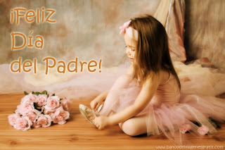 niña con flores y mensaje del dia del padre