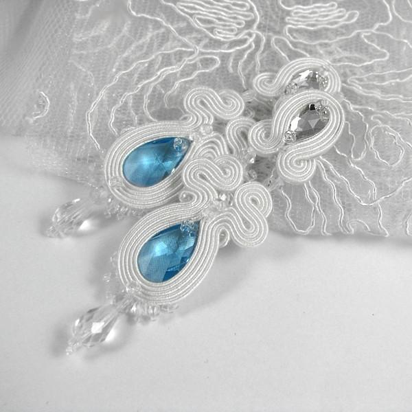 Kolczyki ślubne sutasz z niebieskimi kryształami Swarovski