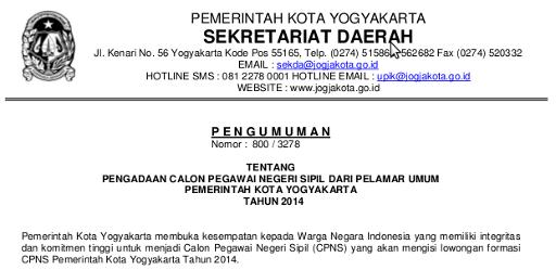 Formasi CPNS 2014 Kota Yogyakarta Membutuhkan 20 Guru Lulusan Sarjana PGSD