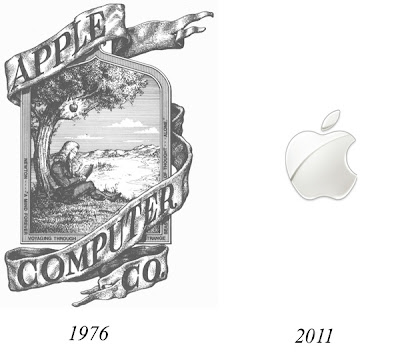 primer logo de apple en 1976 y 2011