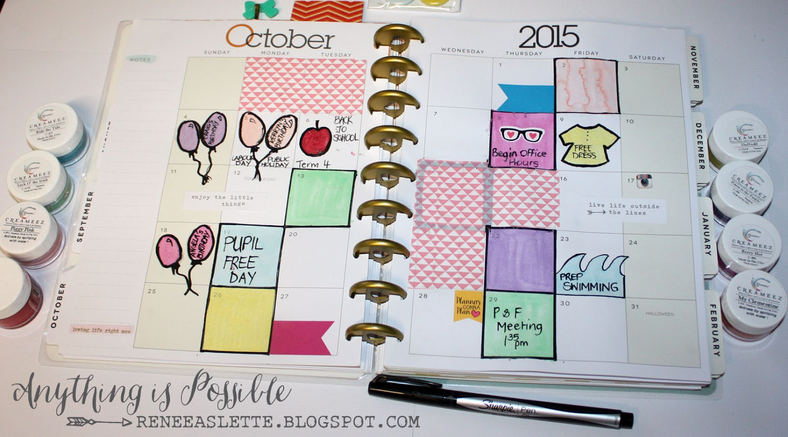 This is a picture of Bright Happy Planner Monthly Layout Printable