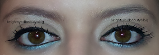 A pop of teal in an otherwise everyday eye look