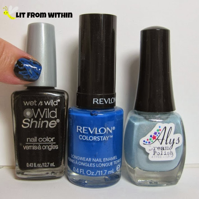 Bottle shot:  Wet n Wild Black Creme, Revlon Indigo Night, and Aly's Dream Polish Bayouberry