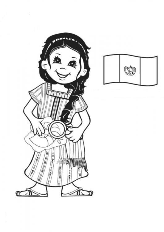 Dibujo de Niña de Guatemala para colorear