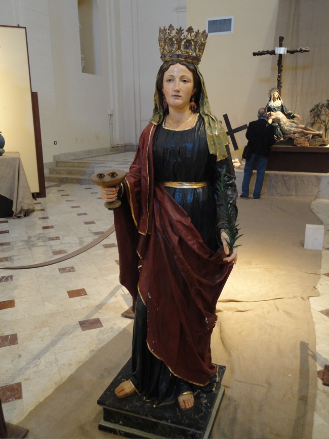 Santa Lucia in a museum in Palermo, statue is made of papier maché ...
