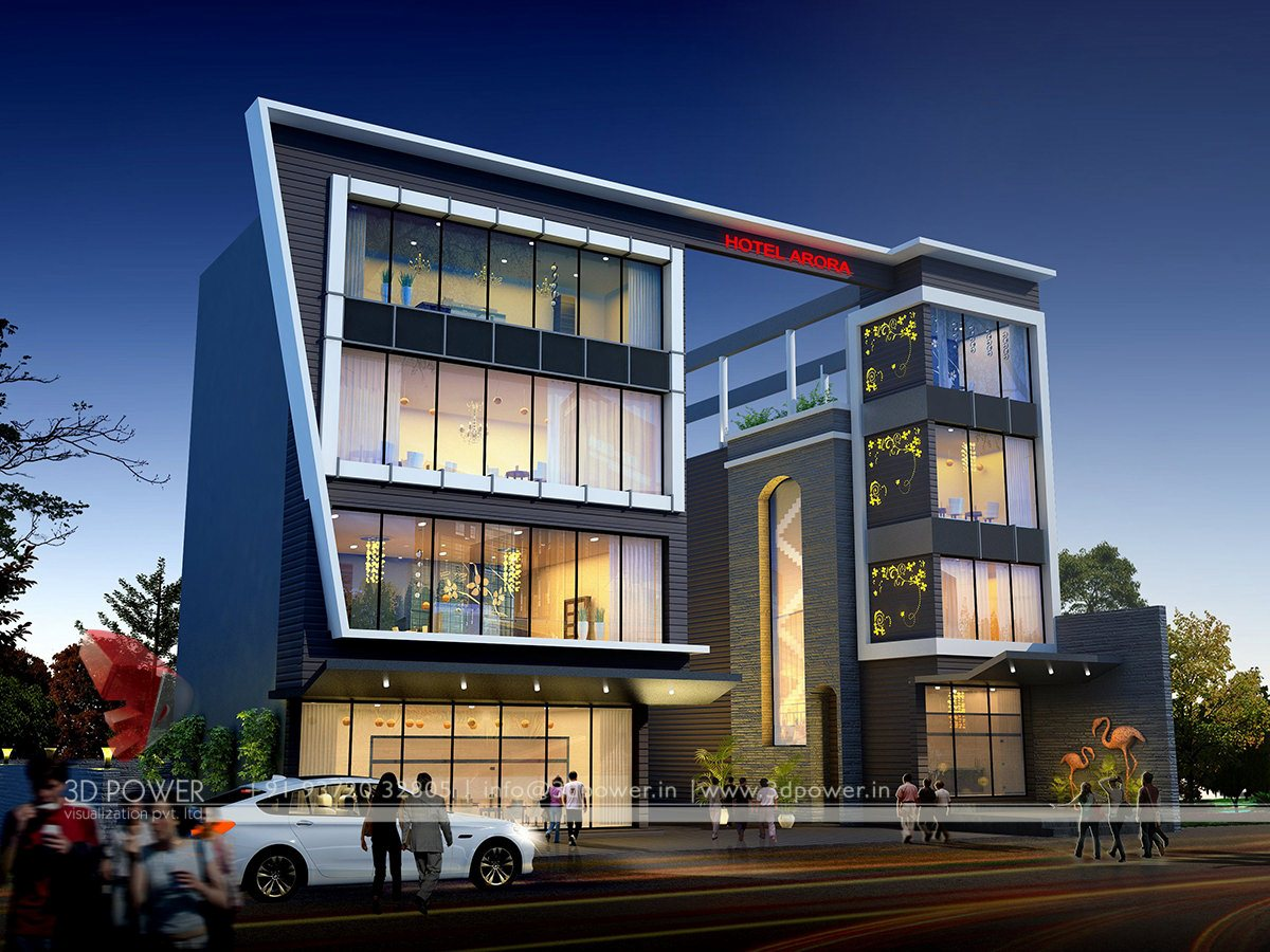 Corporate building design 3d rendering exclusive night view for Modern office building exterior design