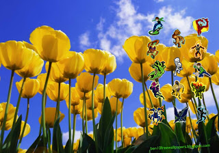 Desktop Wallpapers Ben 10 and Alien Monsters at Tulips Flowers Field