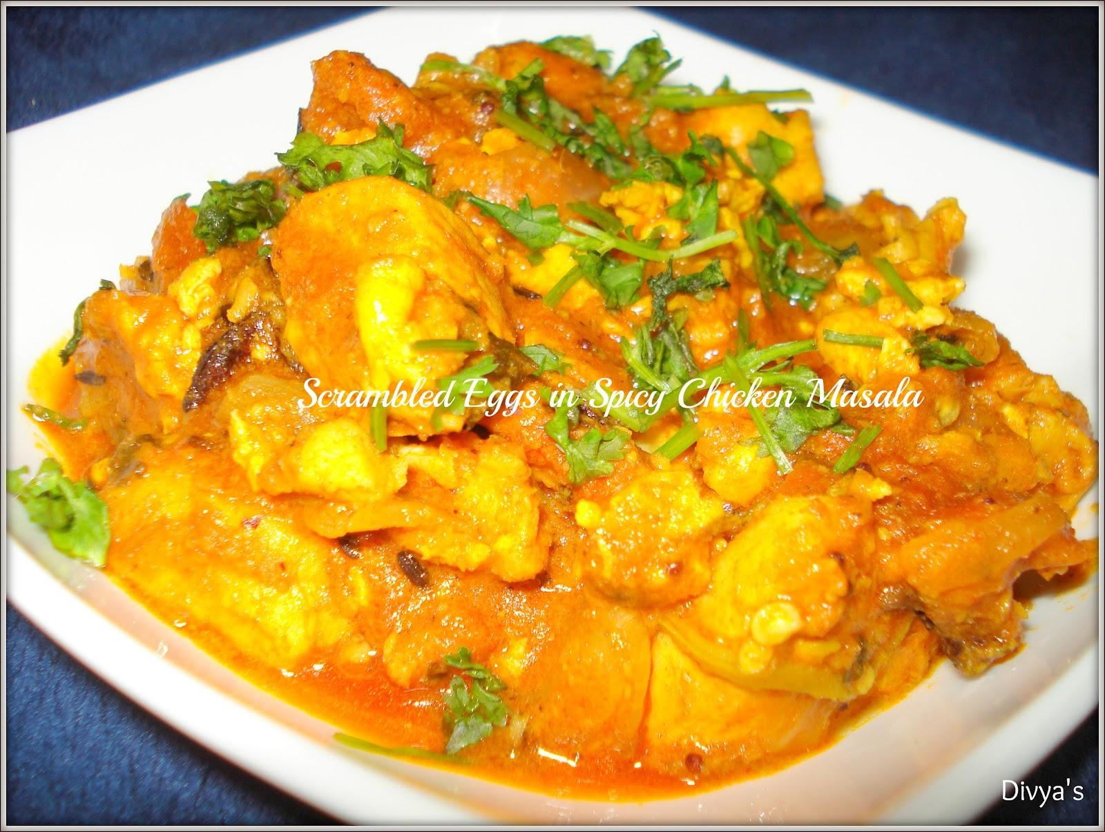 Scrambled Eggs In Spicy Chicken Masala