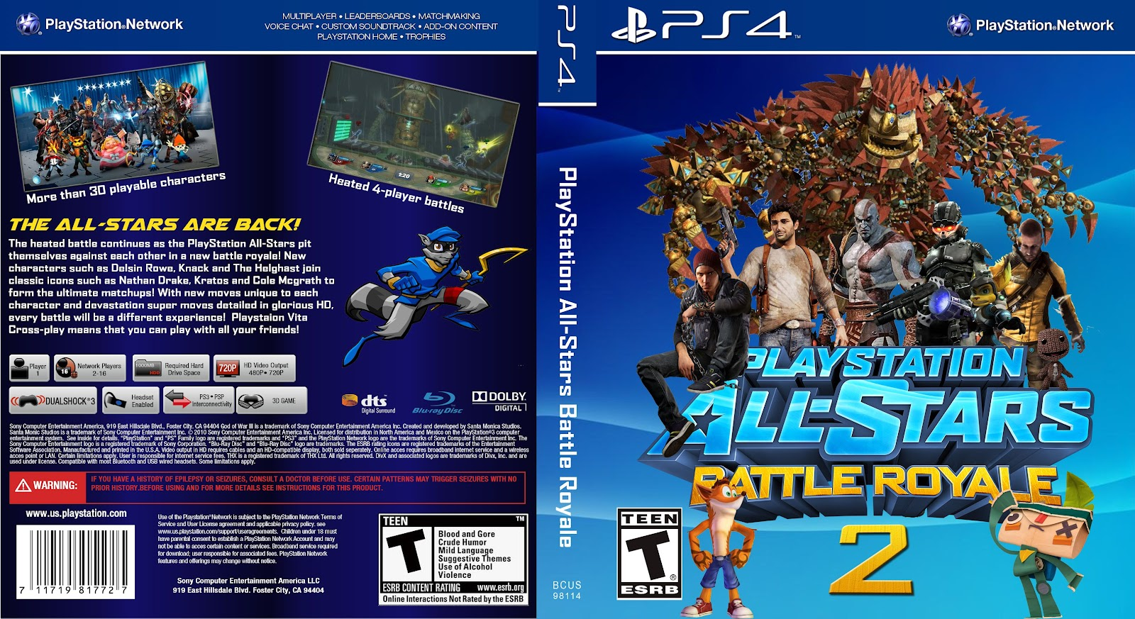 Capa Playstation All-Stars Battle Royale 2 PS4