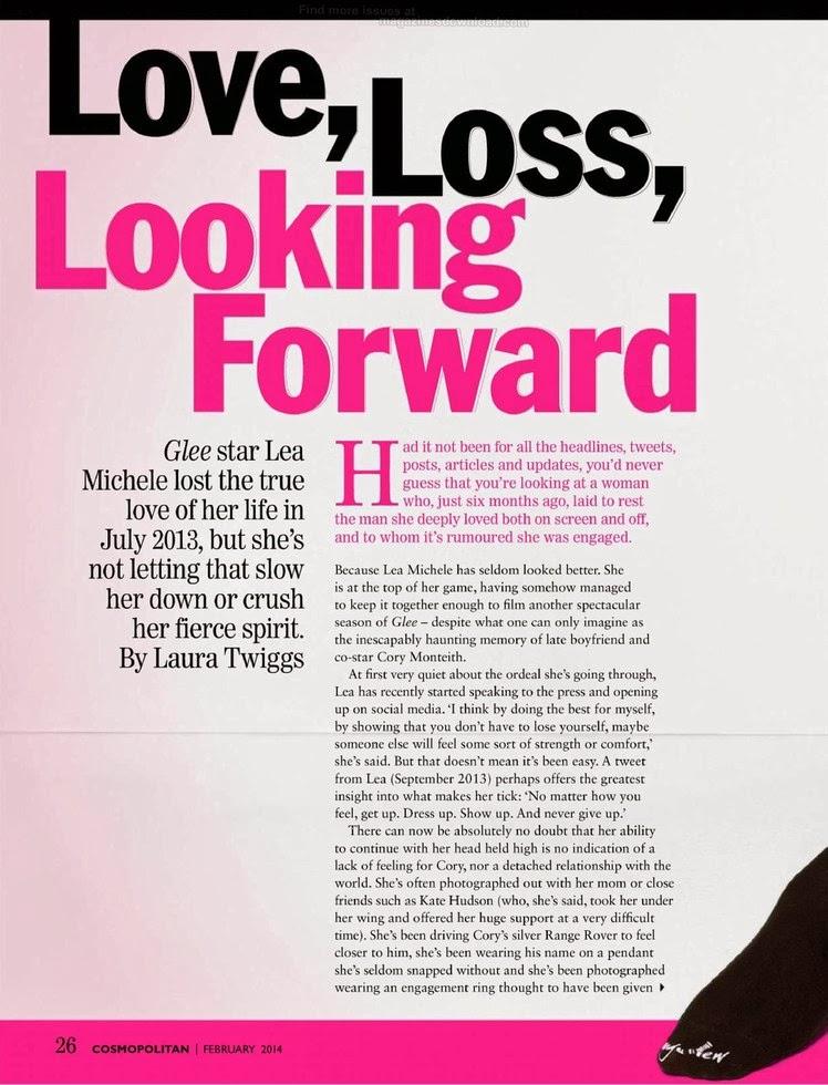 Magazine Photoshoot : Lea Michele Photoshot For Cosmopolitan Magazine South Africa February 2014