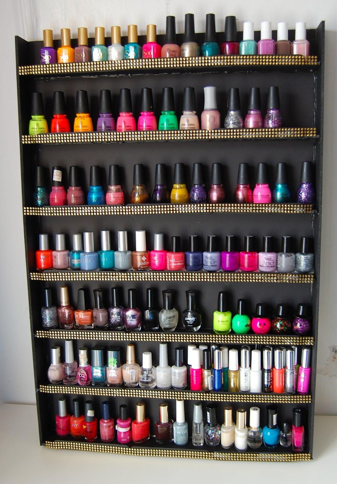 sellzcutethings super easy diy nail polish wall rack. Black Bedroom Furniture Sets. Home Design Ideas