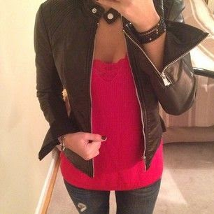 Express London Sweater, Mars Red, Minus the Leather Moto Jacket