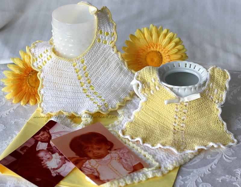 Crochet Baby Bib from Vintage Pattern | Grateful Prayer | Thankful Heart