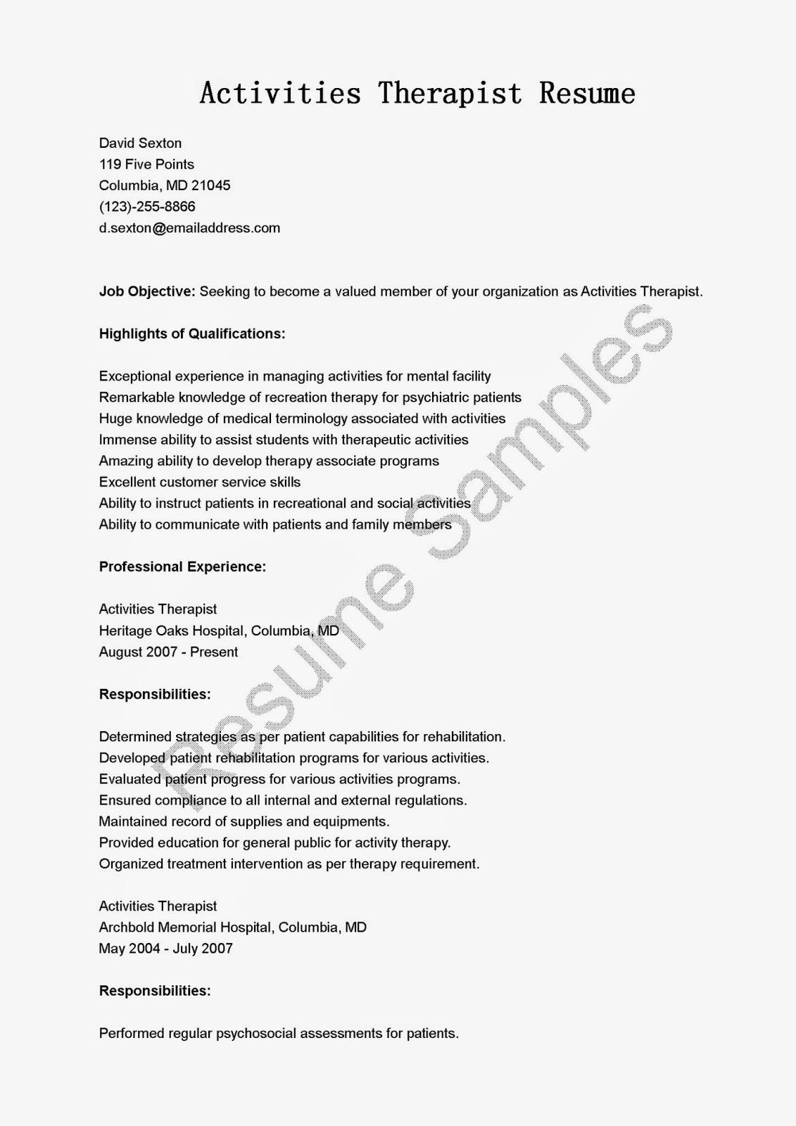 Resume Samples Activities Therapist Resume Sample