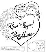 Molde de coração, cartão para o dia das Mães. (molde cartao convite dia das maes)