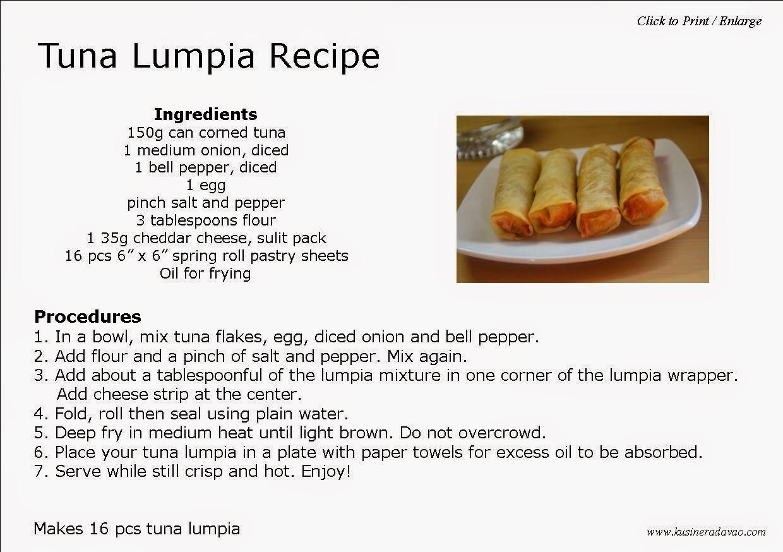 Tuna lumpia recipe kusinera davao for How to make tuna fish