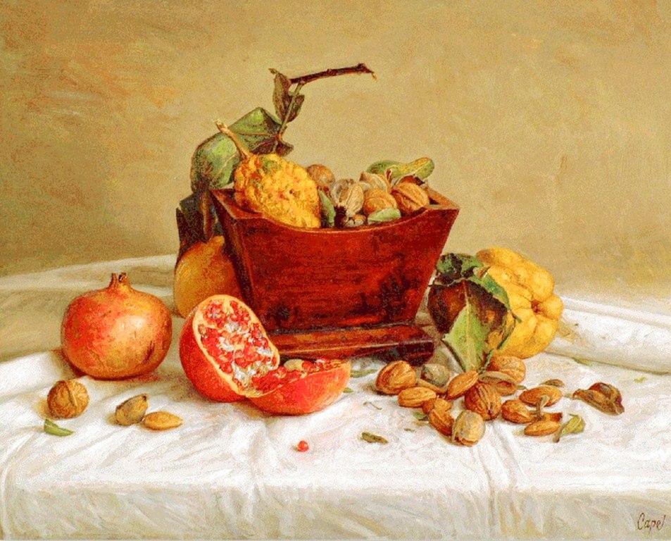 ANTONIO GUZMAN CAPEL Bodegon+pintura+oleo+sobre+lienzo++,,