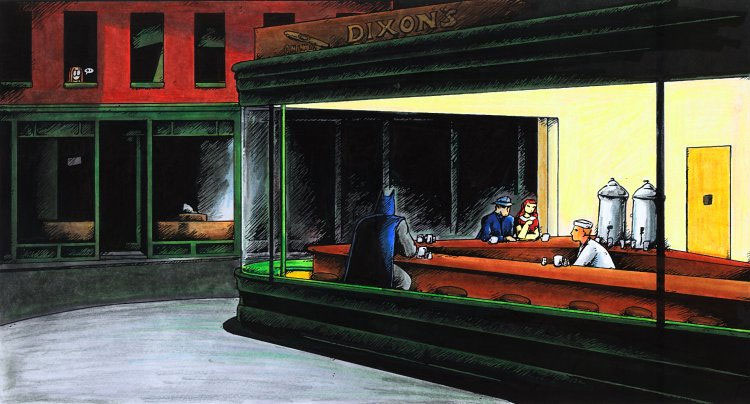 Jes art quest 4th grade exploring hopper 39 s 39 nighthawks 39 for Diner painting