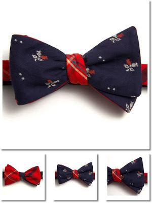 """Mini Jacquard Navy Floral & Crimson Plaid Bow-tie"", ""vintage bow-ties"", ""General Knot & Co"""