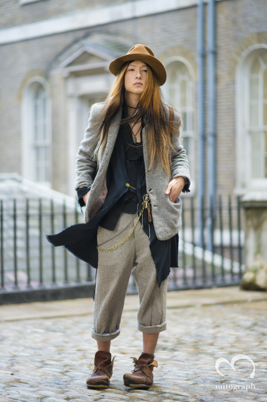 Model Takahiro Yaguchi at Somerset House During London Fashion Week 2014 Fall Winter LFW