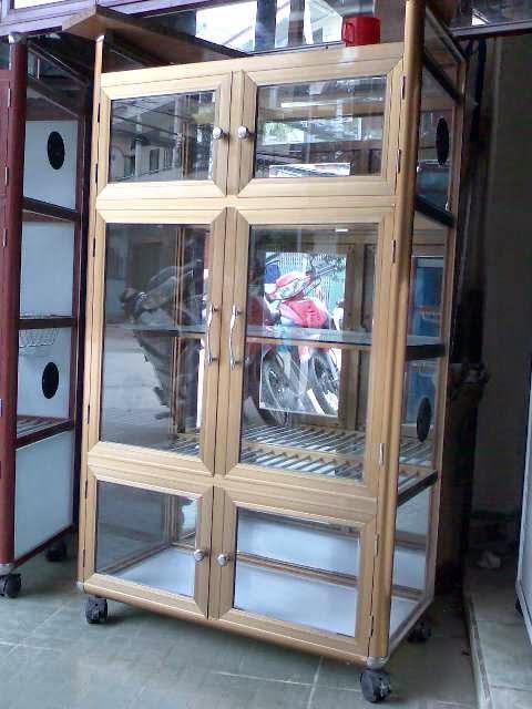 tủ chén nhôm kính  1