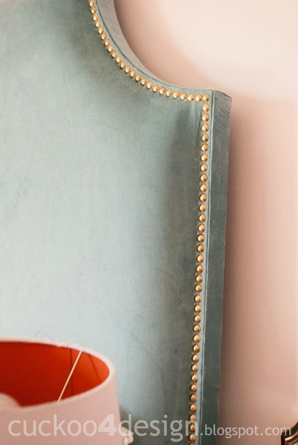 DIY brass nailhead upholstered headboard