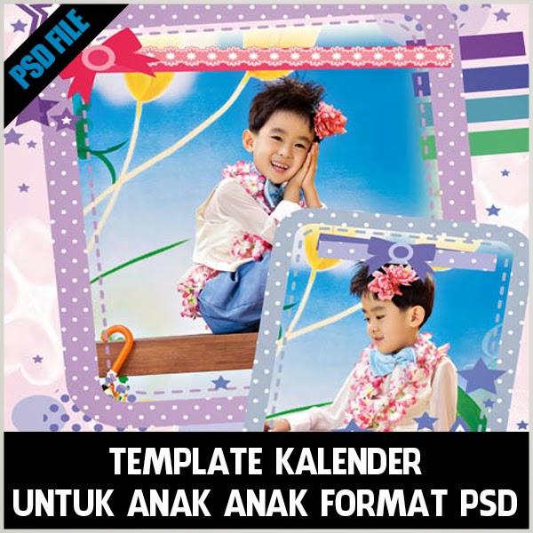 Template kalender untuk anak anak format psd gratis. bisa diedit dan