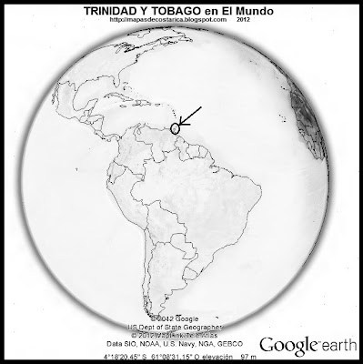 El Mundo. Ubicacin de TRINIDAD Y TOBAGO en El Mundo, Google Earth, blanco y negro