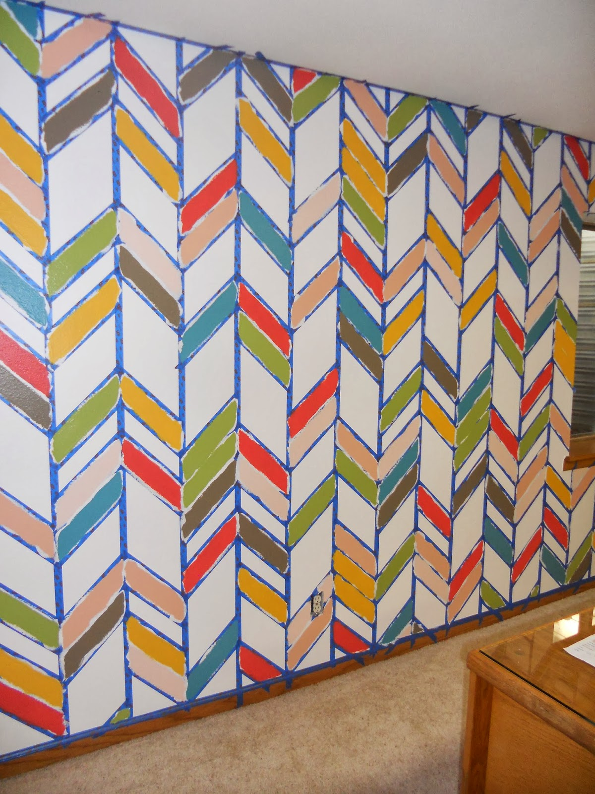 Just another hang up herringbone accent wall finished for Cool paint patterns for walls