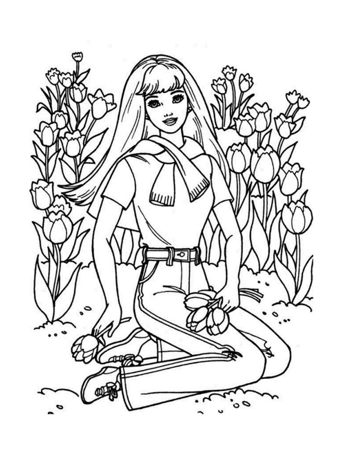 Clean image intended for printable barbie coloring pages