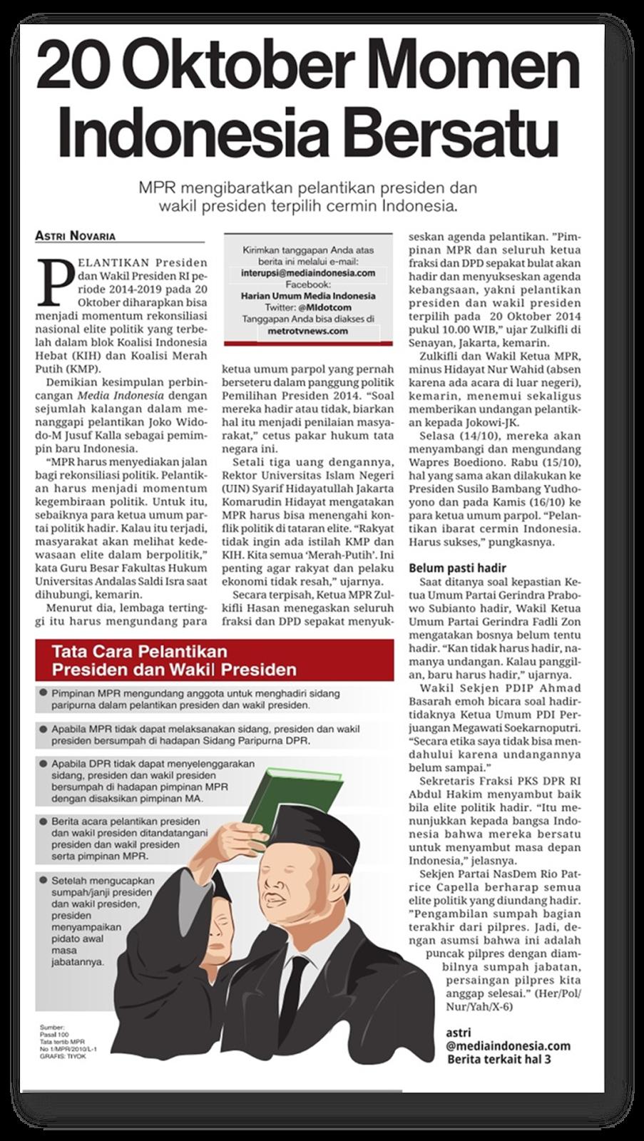 Tata Cara Pelantikan Presiden RI 2014-2019 Tanggal 20 Oktober 2014