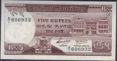 Mauritius 5 Rupees 1985 P# 34