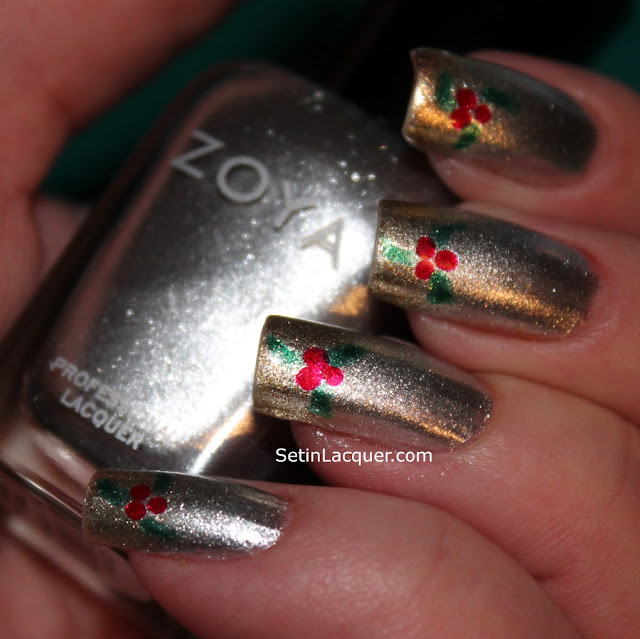 Holly berries holiday nail art