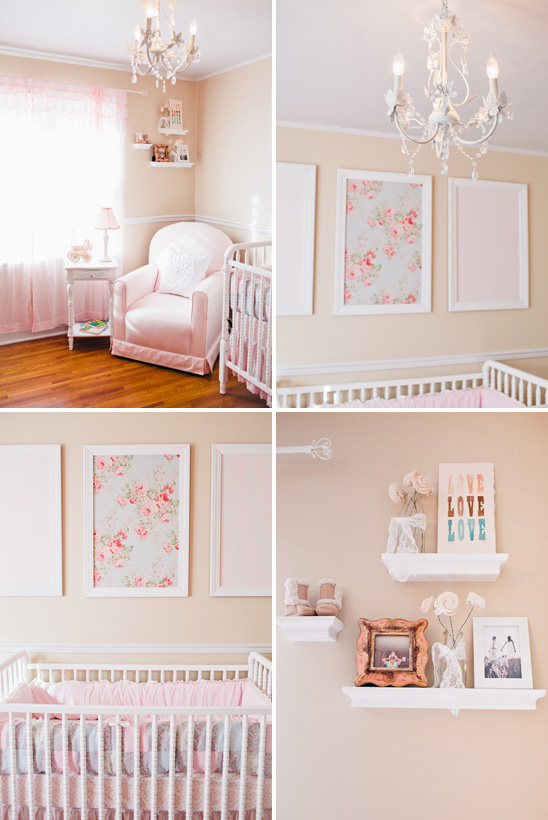 I heart pears pink and white girl nursery for Girl nursery lighting