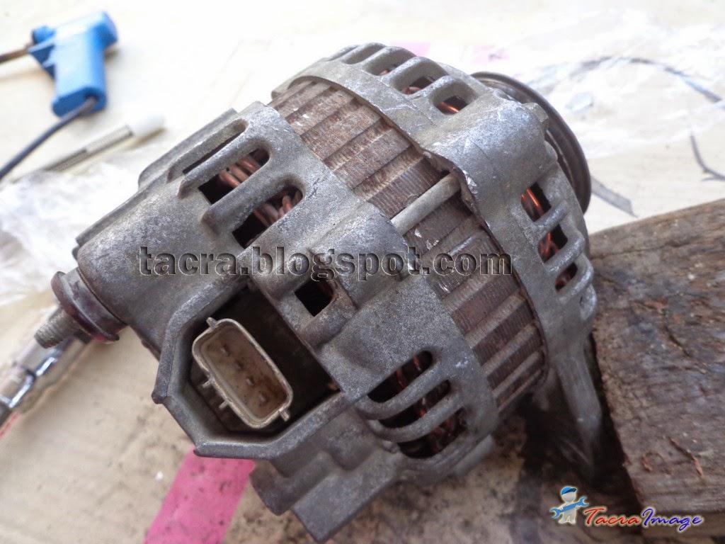 keluarkan alternator daripada kereta. pastikan terminal negatif pada bateri dibuka terlebih dahulu kerana wire + dari bateri bersambung terus ke alternator. ... & tacra\u0027s diy garage: Alternator Carbon Brush Replacement