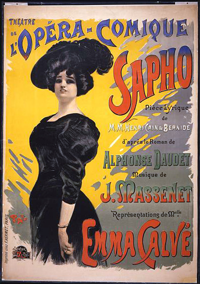 movies, theater, french poster, vintage, vintage posters, retro prints, classic posters, free download, graphic design, Theatrea de l'Opera-Comique Sapho - Vintage French Theater Opera Poster