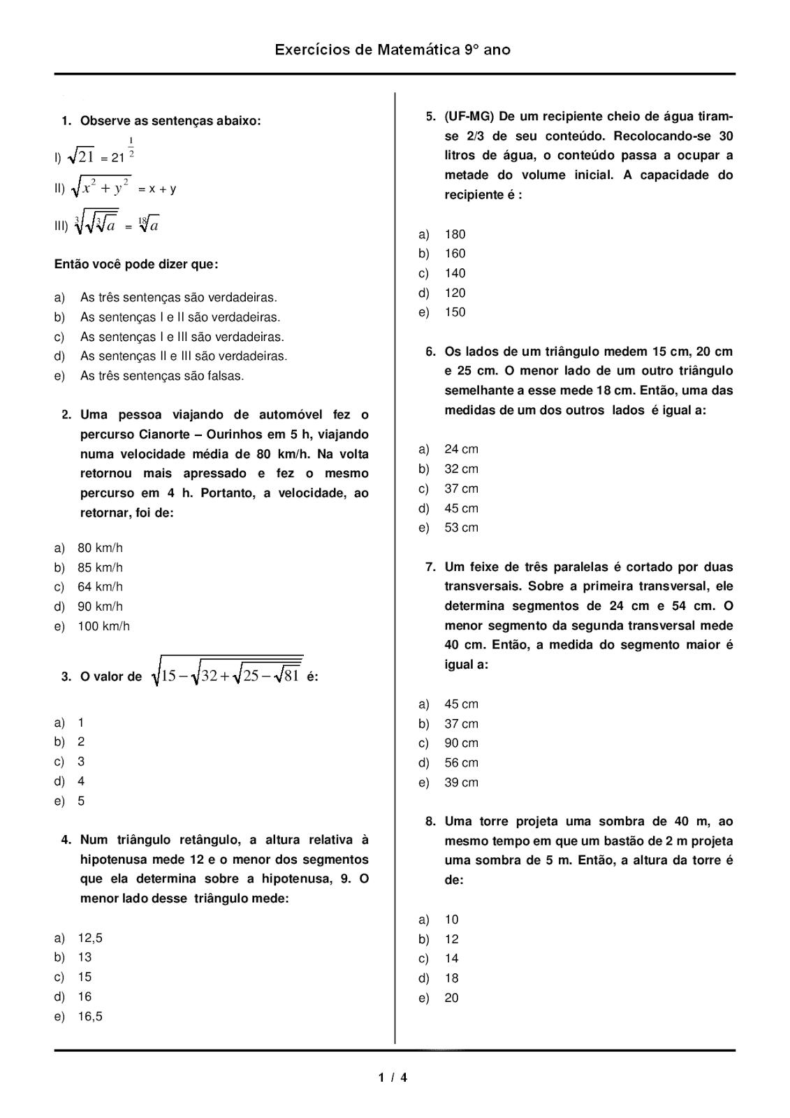 Amado Escola Tiragem Portal: MATEMÁTICA 9° ANO COM GABARITO ATIVIDADES  AQ99