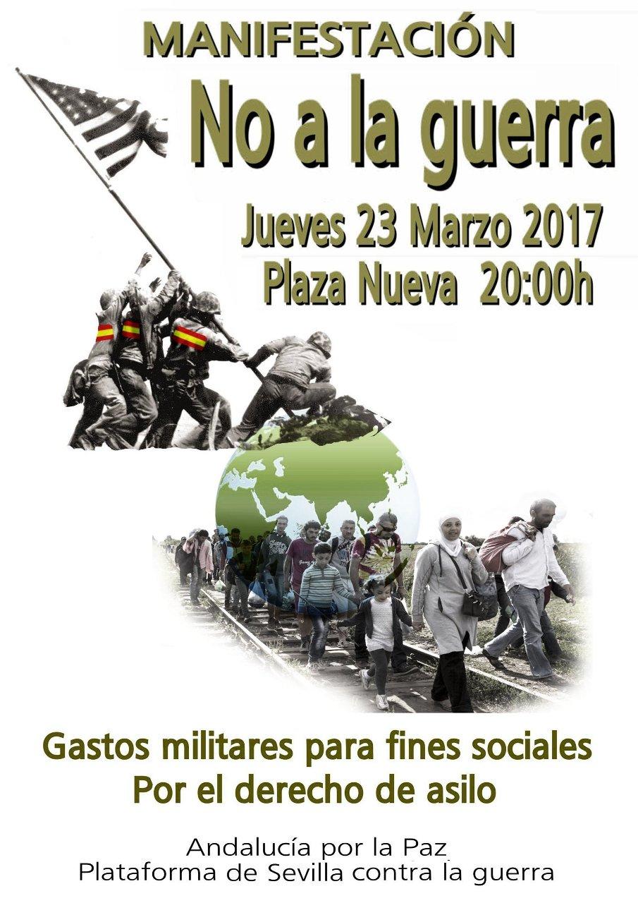 MANIFESTACIÓN NO A LA GUERRA. Gastos militares para fines sociales. Por el derecho de asilo.