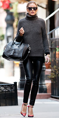 Celebrity wearing leather pants, fashion blogger, what to wear, celebrity street style, casual style
