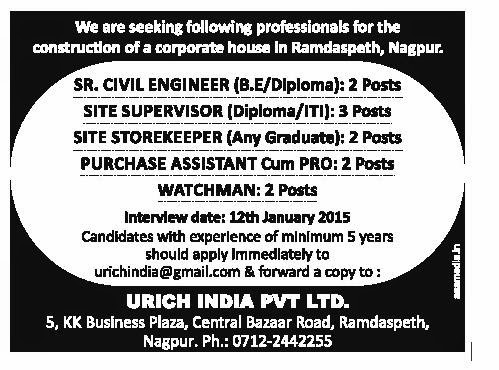 Recruitment in Nagpur City for Engineers Posts,Jan-2015