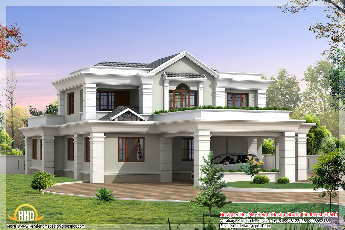 2 storey sloping roof home plan kerala home design for Beautiful architecture houses