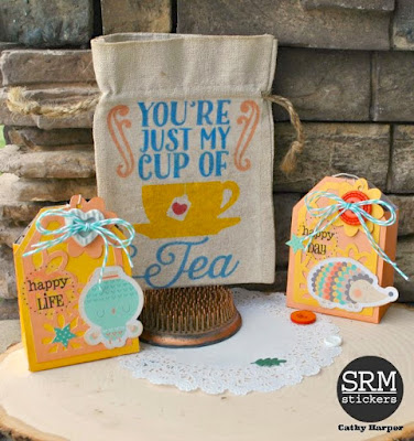 SRM Stickers Blog - Coffee Lovers Blog Hop - You're My Cup of Tea by Cathy - #tea #twine #stickers #linenbags #giftset #DIY