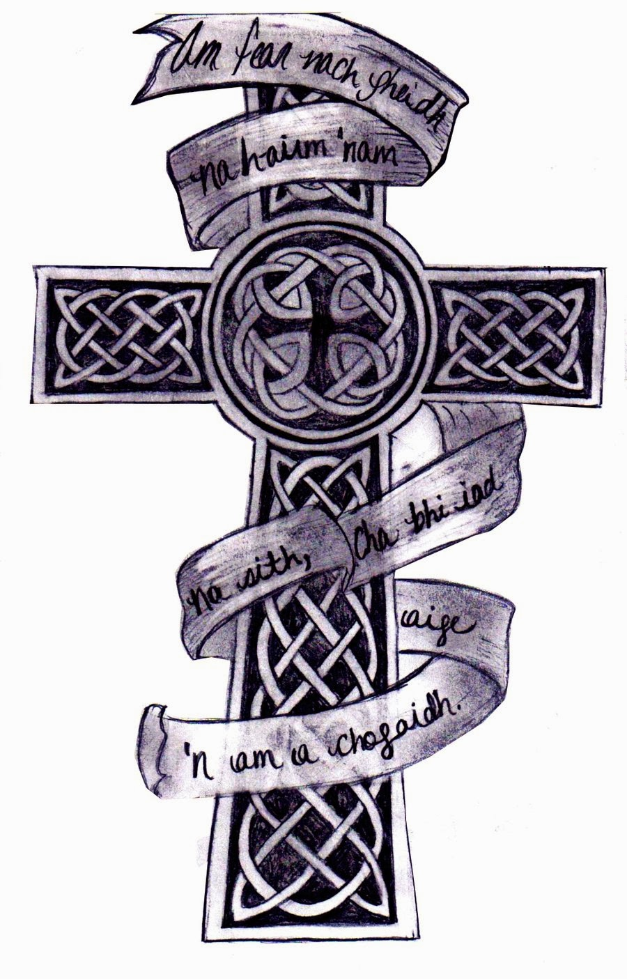 Celtic cross with banner tattoo stencil