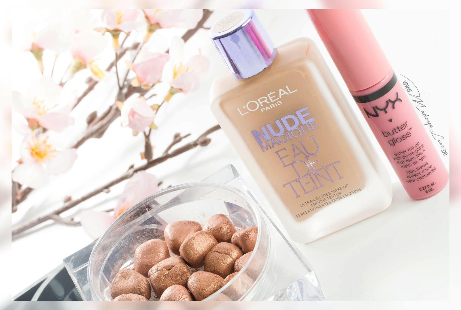 L'Oreal Nude Magique Eau de Teint NYX Butter Gloss p2 catch the glow body pearls