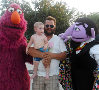 Will and Gatsby at Bay of Play with Sesame Street characters