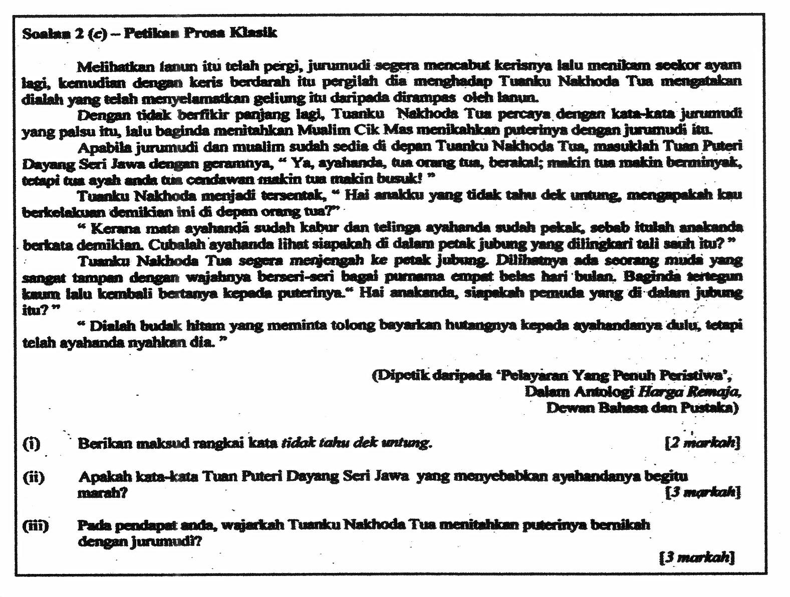 Contoh Soalan Komsas Tingkatan 3 Pt3 U Soalan