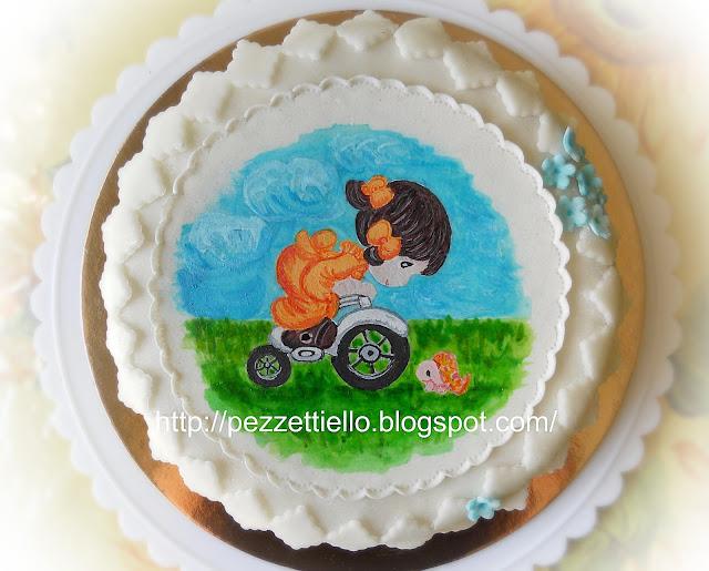 Torta di mele con Centrino con Bambina sulla bicicletta