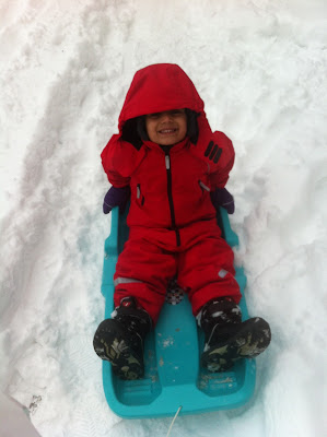 Sledging in snow
